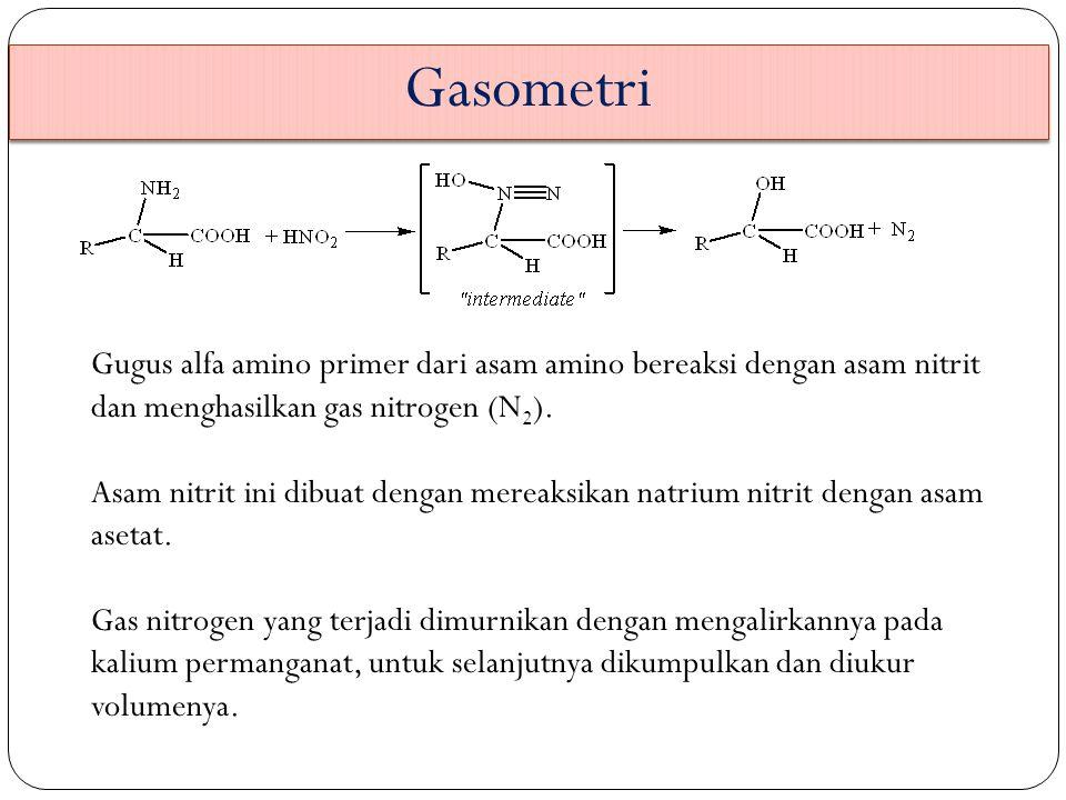 Gasometri Gugus alfa amino primer dari asam amino bereaksi dengan asam nitrit dan menghasilkan gas nitrogen (N2).