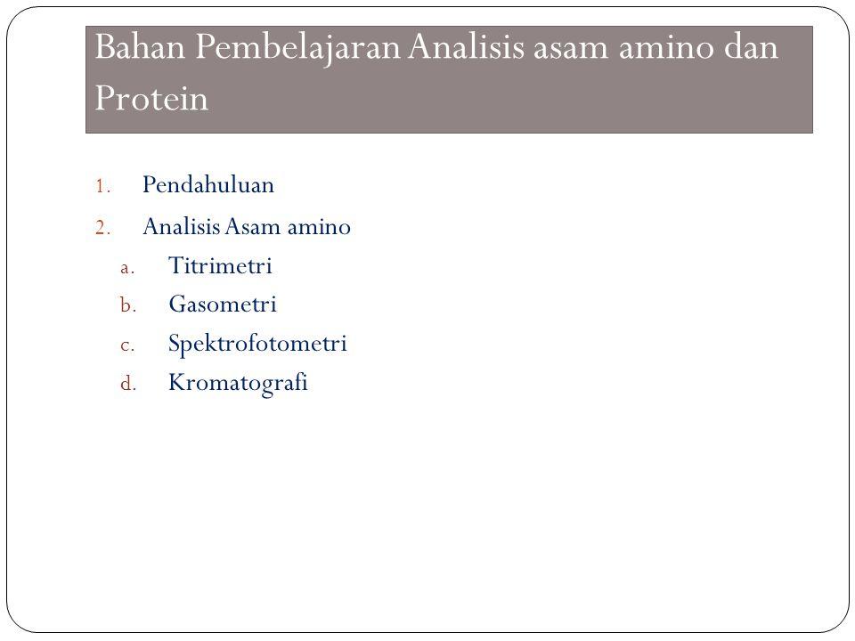 Bahan Pembelajaran Analisis asam amino dan Protein