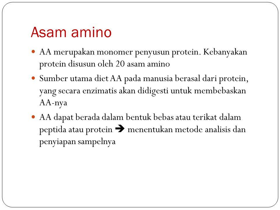Asam amino AA merupakan monomer penyusun protein. Kebanyakan protein disusun oleh 20 asam amino.