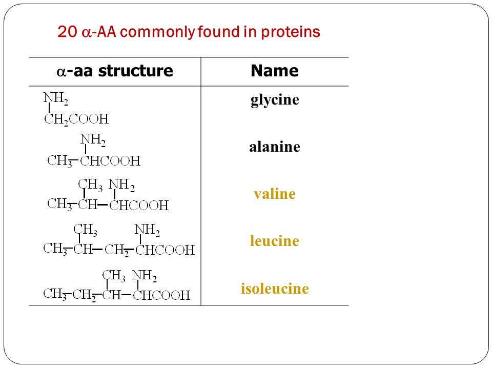 20 -AA commonly found in proteins