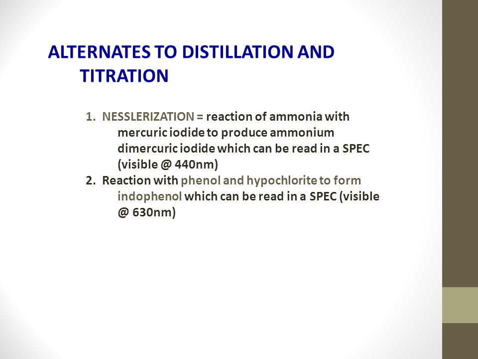 ALTERNATES TO DISTILLATION AND TITRATION