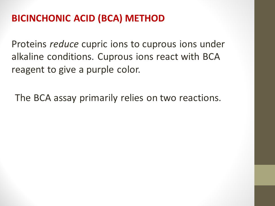 BICINCHONIC ACID (BCA) METHOD Proteins reduce cupric ions to cuprous ions under alkaline conditions.