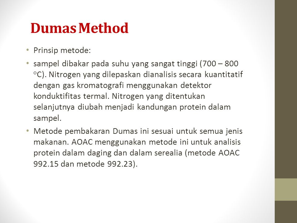Dumas Method Prinsip metode: