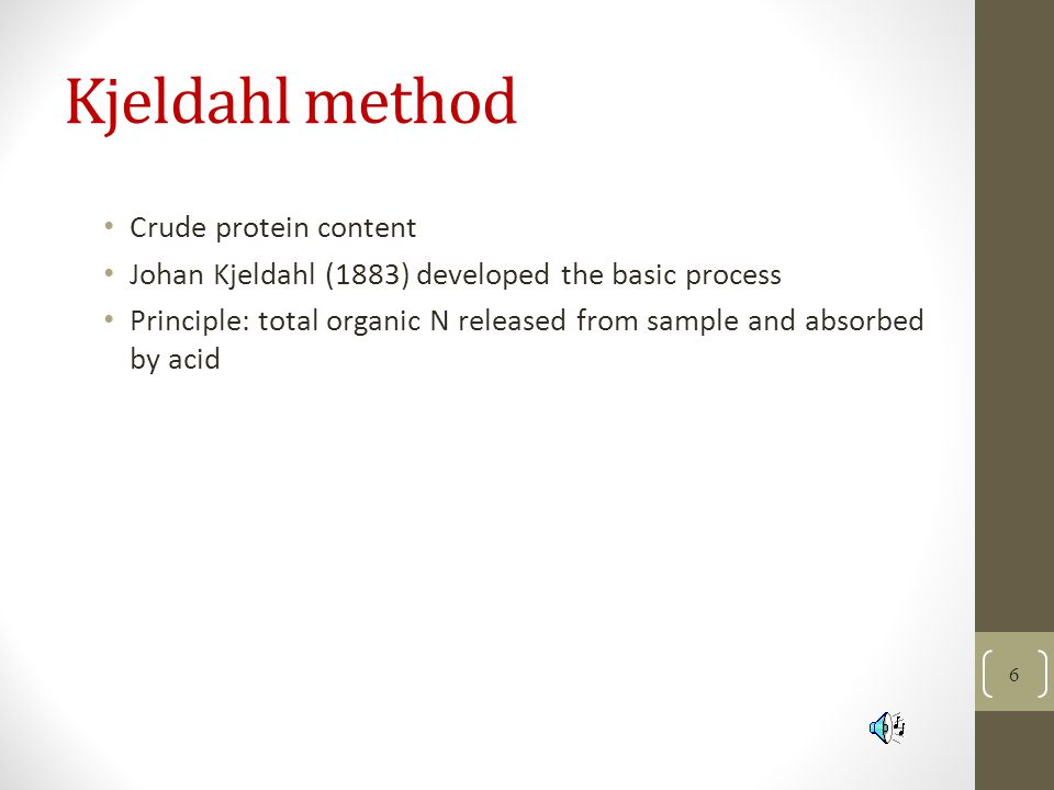 Kjeldahl method Crude protein content