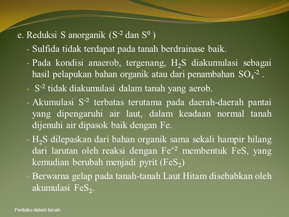 e. Reduksi S anorganik (S-2 dan S0 )