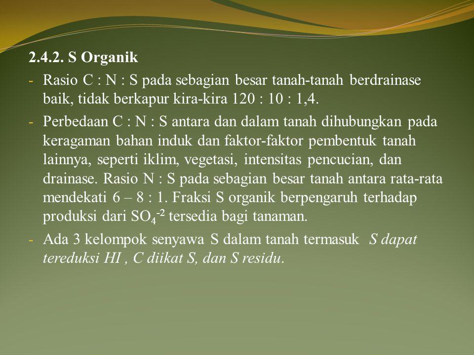 2.4.2. S Organik Rasio C : N : S pada sebagian besar tanah-tanah berdrainase baik, tidak berkapur kira-kira 120 : 10 : 1,4.