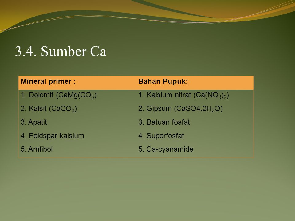 3.4. Sumber Ca Mineral primer : Bahan Pupuk: 1. Dolomit (CaMg(CO3)