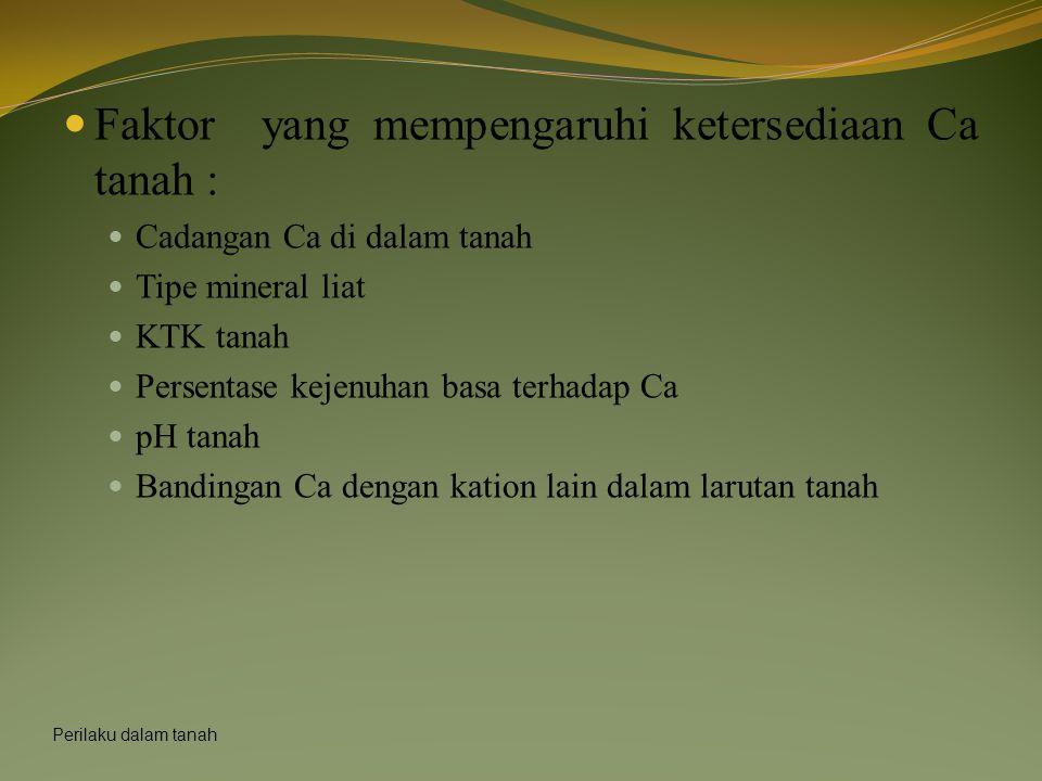 Faktor yang mempengaruhi ketersediaan Ca tanah :