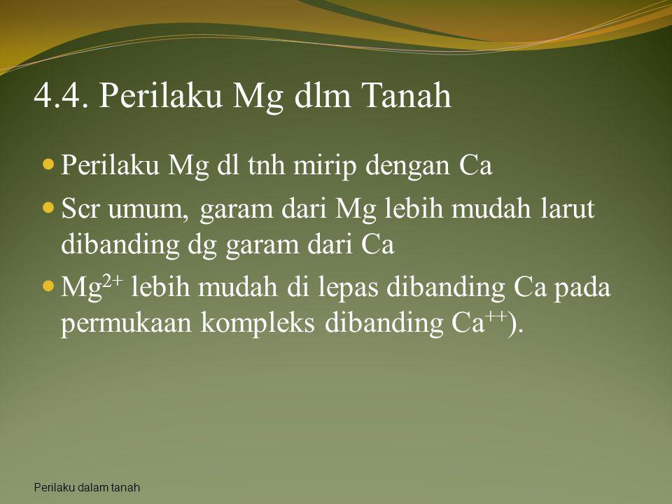 4.4. Perilaku Mg dlm Tanah Perilaku Mg dl tnh mirip dengan Ca