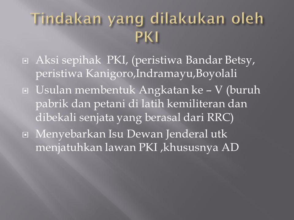 Tindakan yang dilakukan oleh PKI
