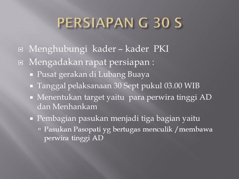 PERSIAPAN G 30 S Menghubungi kader – kader PKI