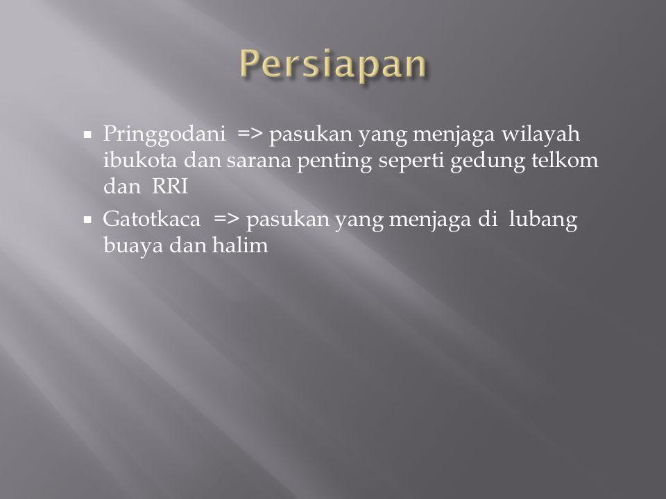 Persiapan Pringgodani => pasukan yang menjaga wilayah ibukota dan sarana penting seperti gedung telkom dan RRI.