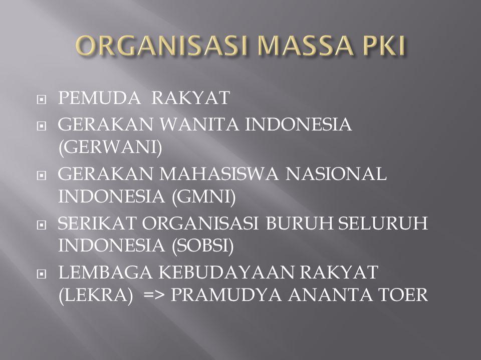 ORGANISASI MASSA PKI PEMUDA RAKYAT GERAKAN WANITA INDONESIA (GERWANI)