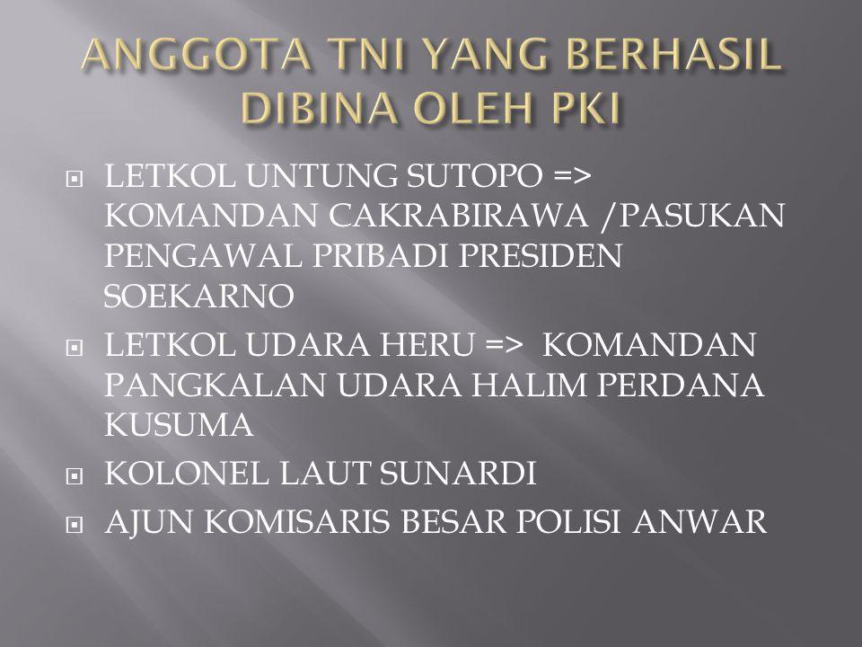 ANGGOTA TNI YANG BERHASIL DIBINA OLEH PKI