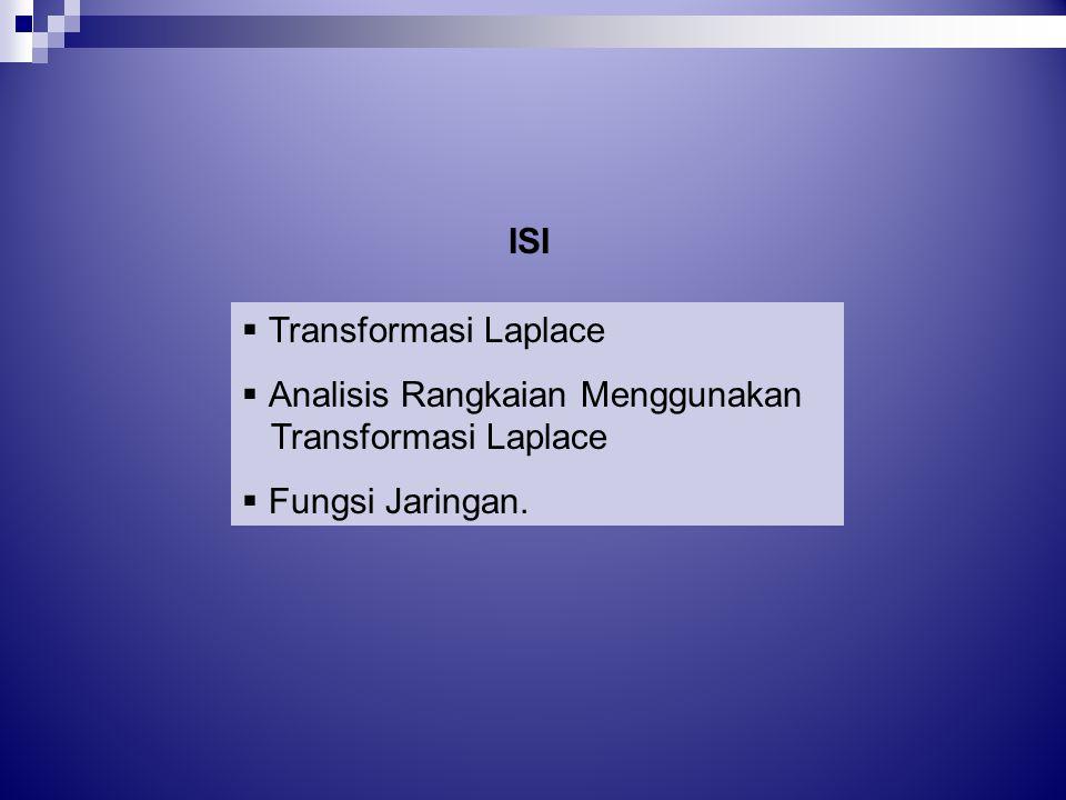 ISI Transformasi Laplace Analisis Rangkaian Menggunakan Fungsi Jaringan.