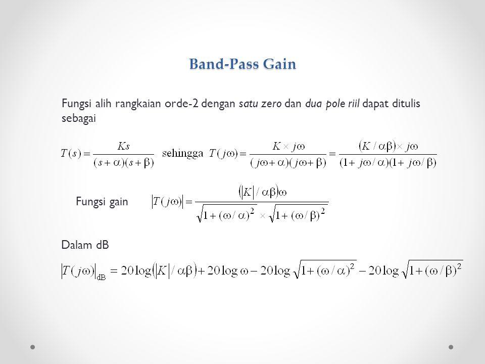 Band-Pass Gain Fungsi alih rangkaian orde-2 dengan satu zero dan dua pole riil dapat ditulis sebagai.