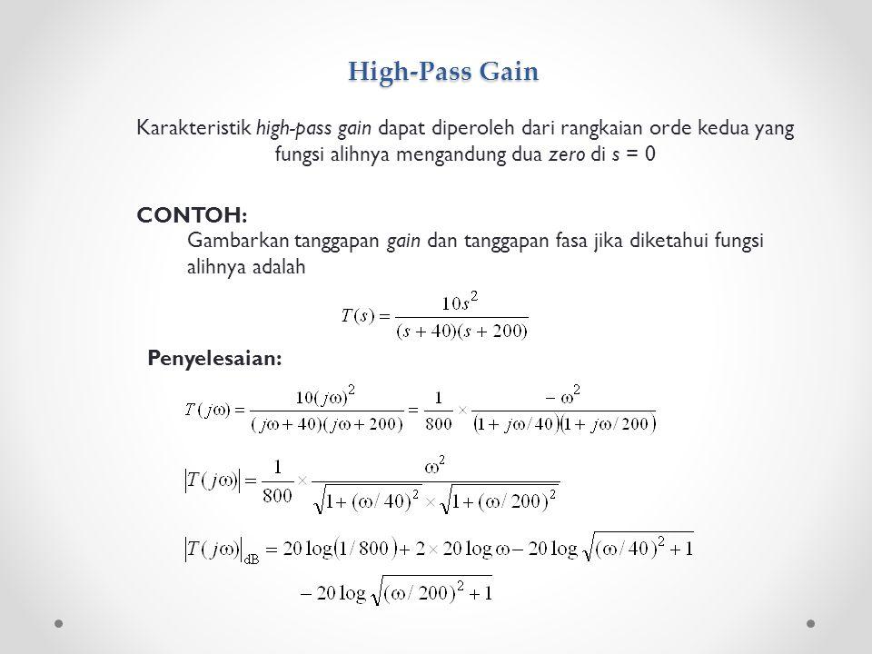 High-Pass Gain Karakteristik high-pass gain dapat diperoleh dari rangkaian orde kedua yang fungsi alihnya mengandung dua zero di s = 0.