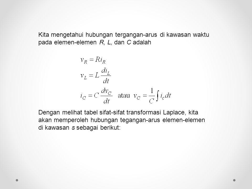 Kita mengetahui hubungan tergangan-arus di kawasan waktu pada elemen-elemen R, L, dan C adalah