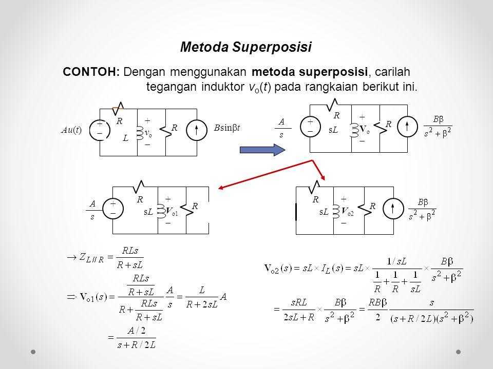 Metoda Superposisi CONTOH: Dengan menggunakan metoda superposisi, carilah tegangan induktor vo(t) pada rangkaian berikut ini.