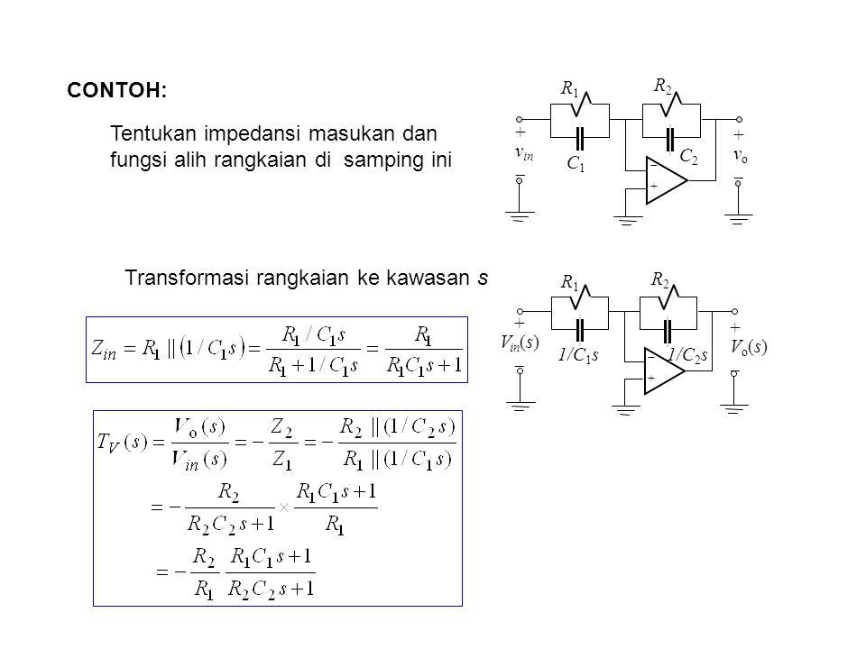 Tentukan impedansi masukan dan fungsi alih rangkaian di samping ini