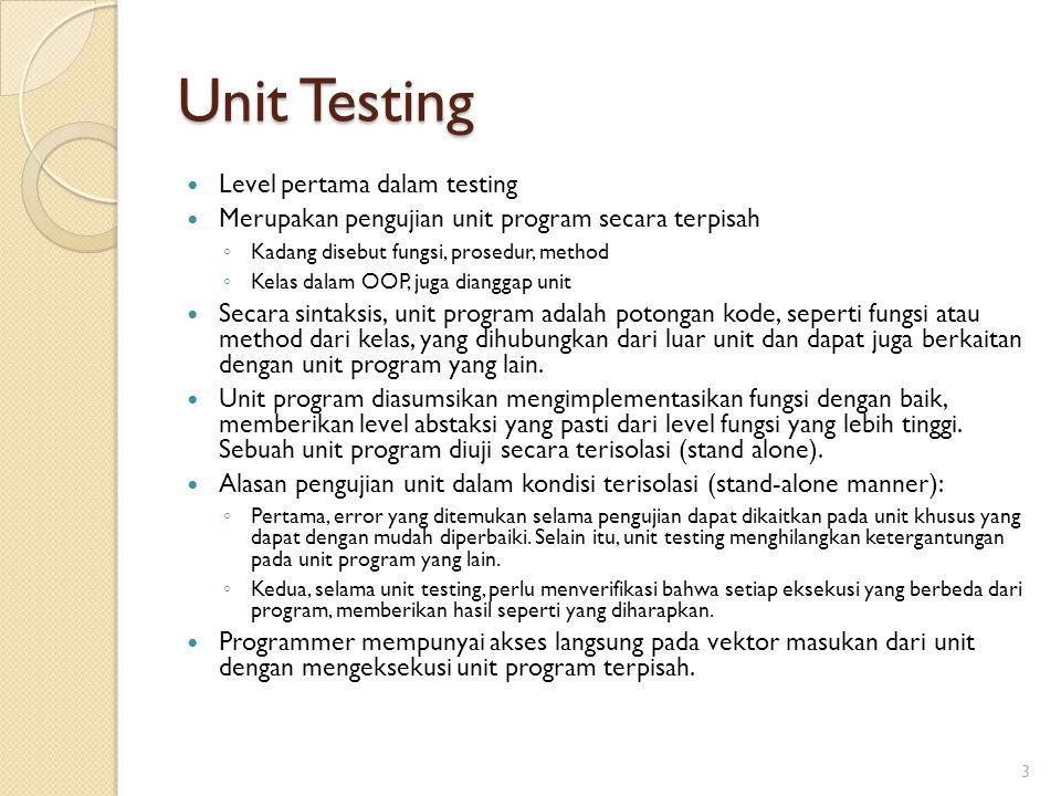 Unit Testing Level pertama dalam testing
