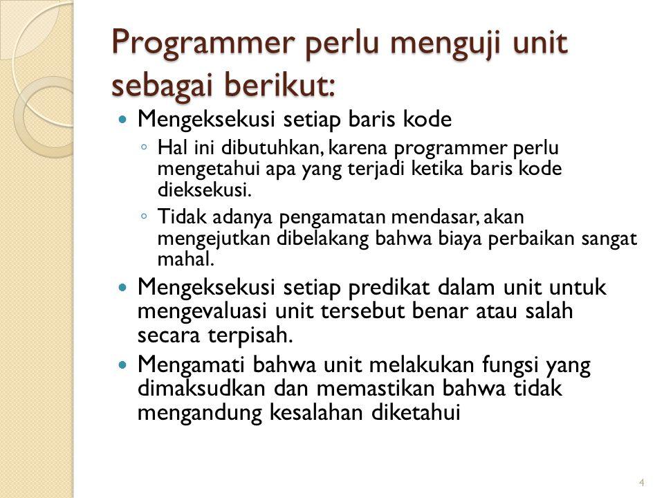 Programmer perlu menguji unit sebagai berikut: