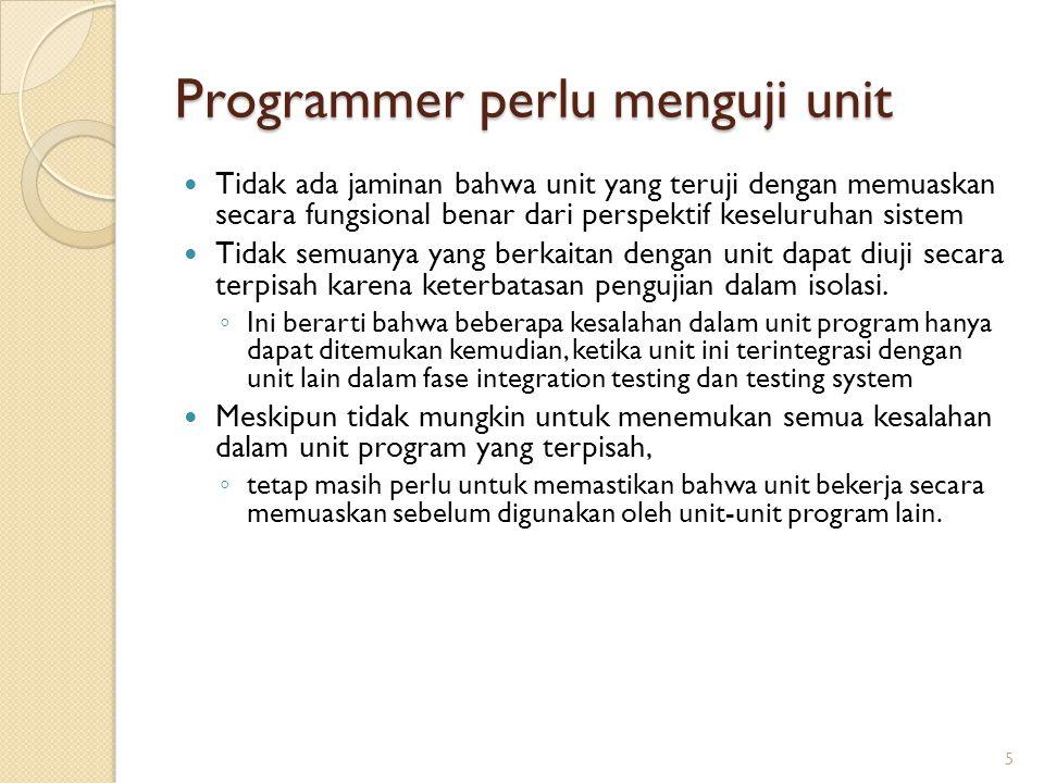 Programmer perlu menguji unit