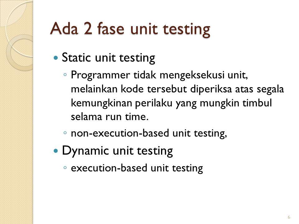 Ada 2 fase unit testing Static unit testing Dynamic unit testing