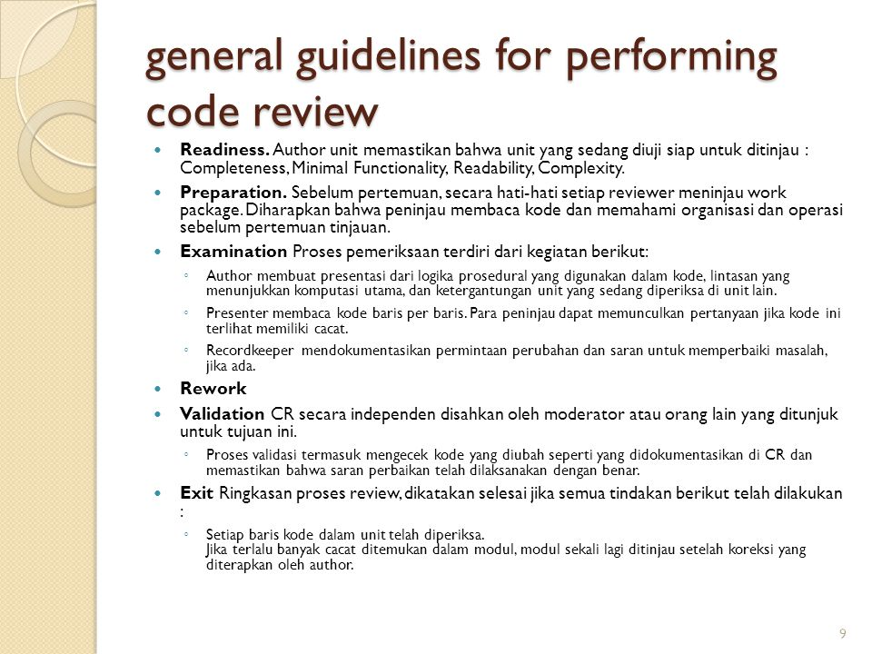general guidelines for performing code review