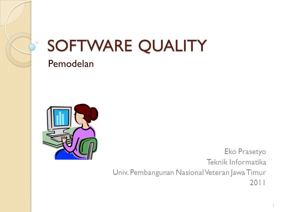 SOFTWARE QUALITY Pemodelan Eko Prasetyo Teknik Informatika