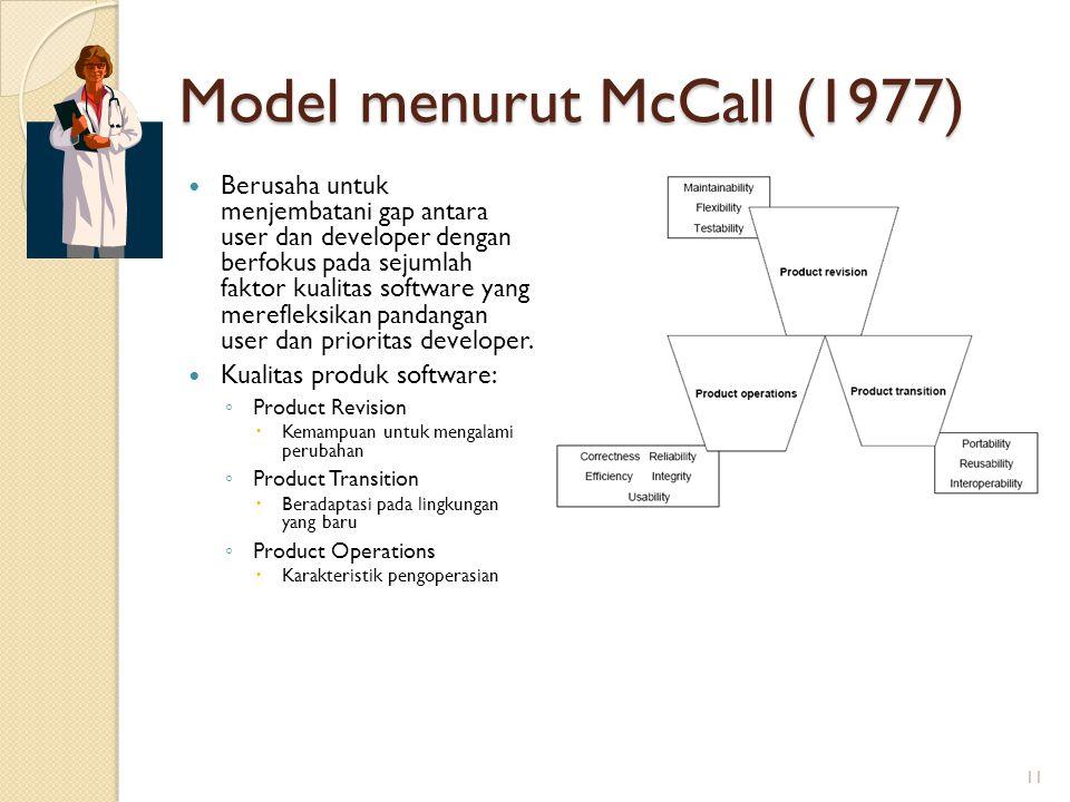 Model menurut McCall (1977)