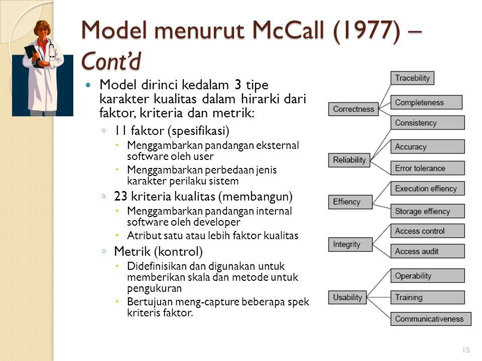Model menurut McCall (1977) – Cont'd