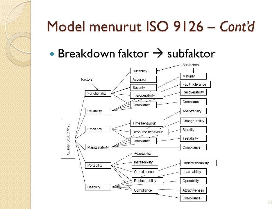 Model menurut ISO 9126 – Cont'd