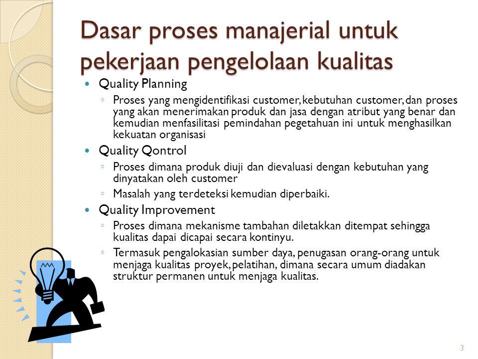 Dasar proses manajerial untuk pekerjaan pengelolaan kualitas