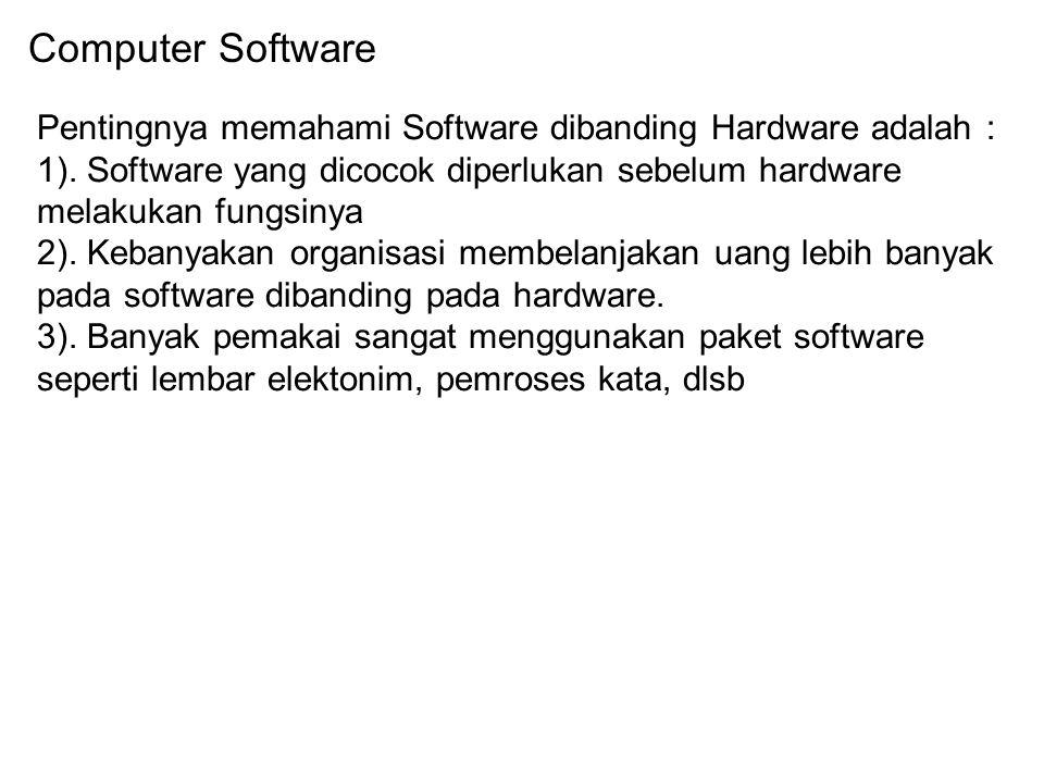 Computer Software Pentingnya memahami Software dibanding Hardware adalah : 1). Software yang dicocok diperlukan sebelum hardware melakukan fungsinya.