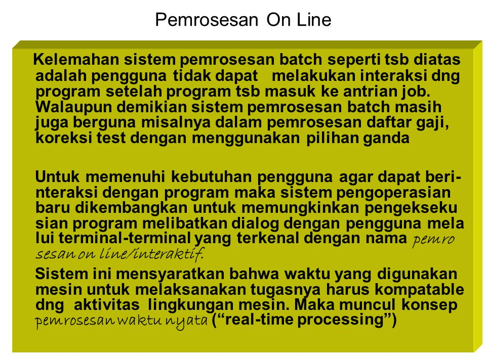 Pemrosesan On Line