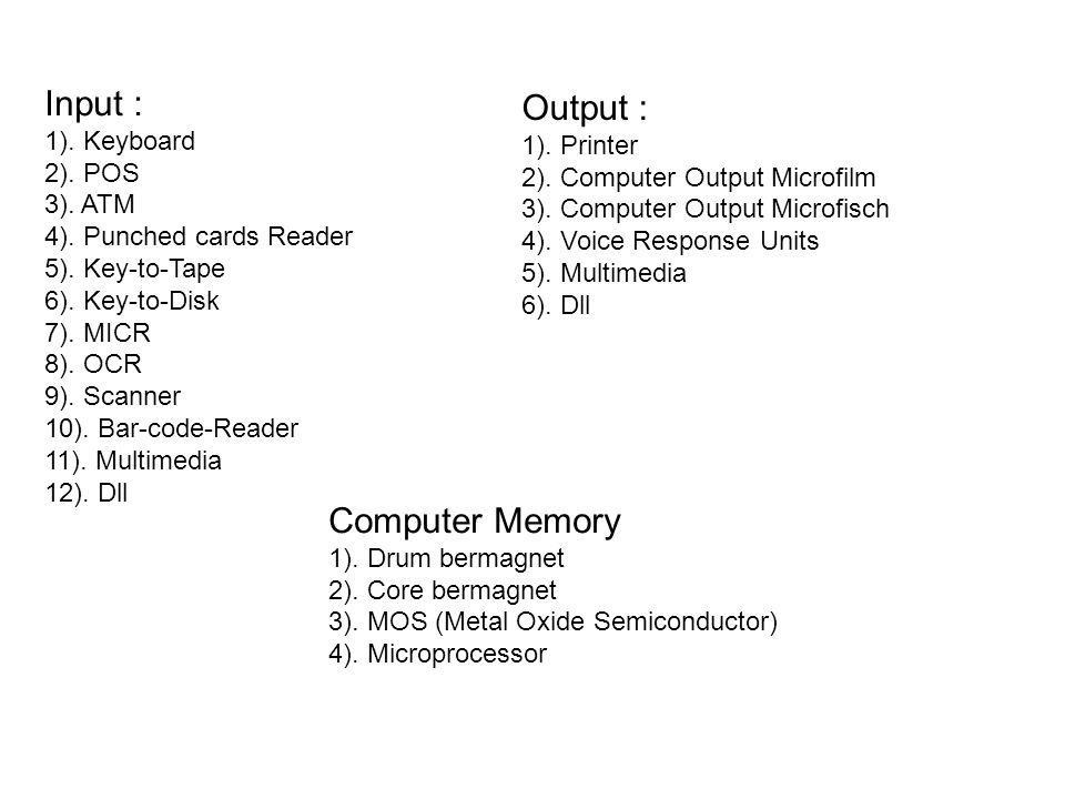 Input : Output : Computer Memory 1). Keyboard 1). Printer 2). POS