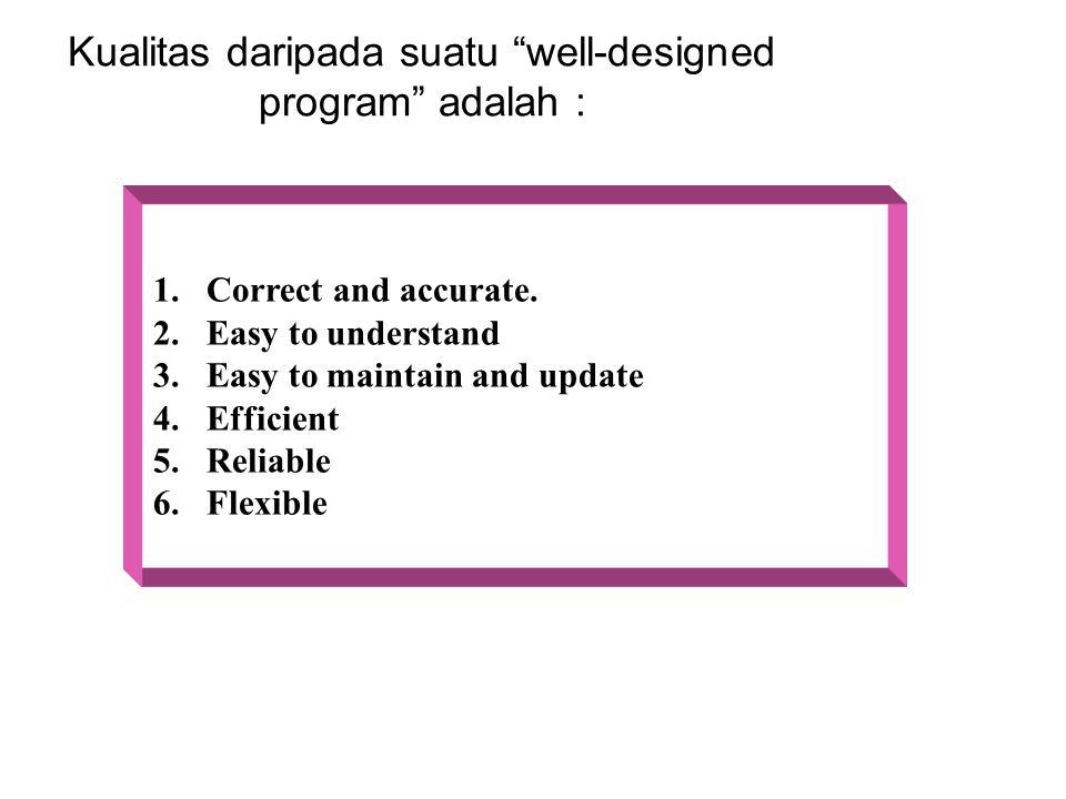 Kualitas daripada suatu well-designed program adalah :