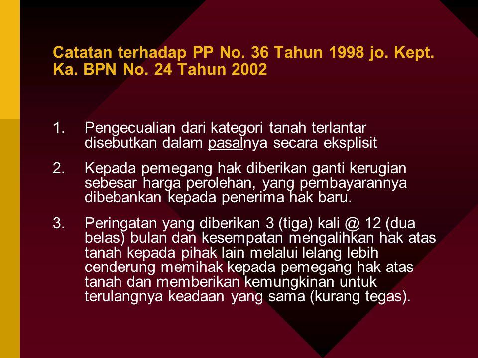 Catatan terhadap PP No. 36 Tahun 1998 jo. Kept. Ka. BPN No