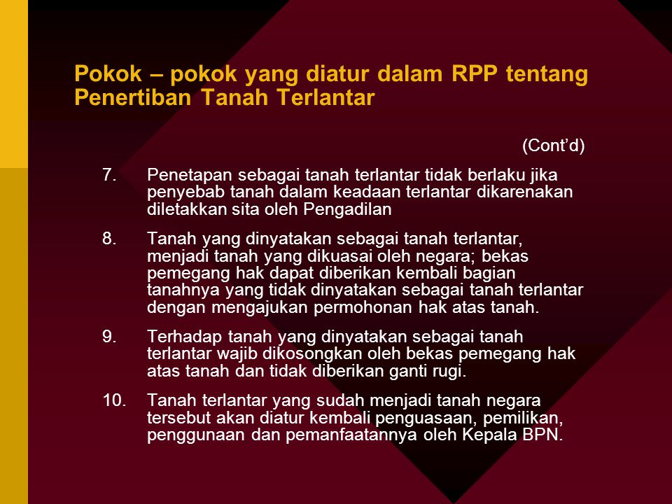 Pokok – pokok yang diatur dalam RPP tentang Penertiban Tanah Terlantar