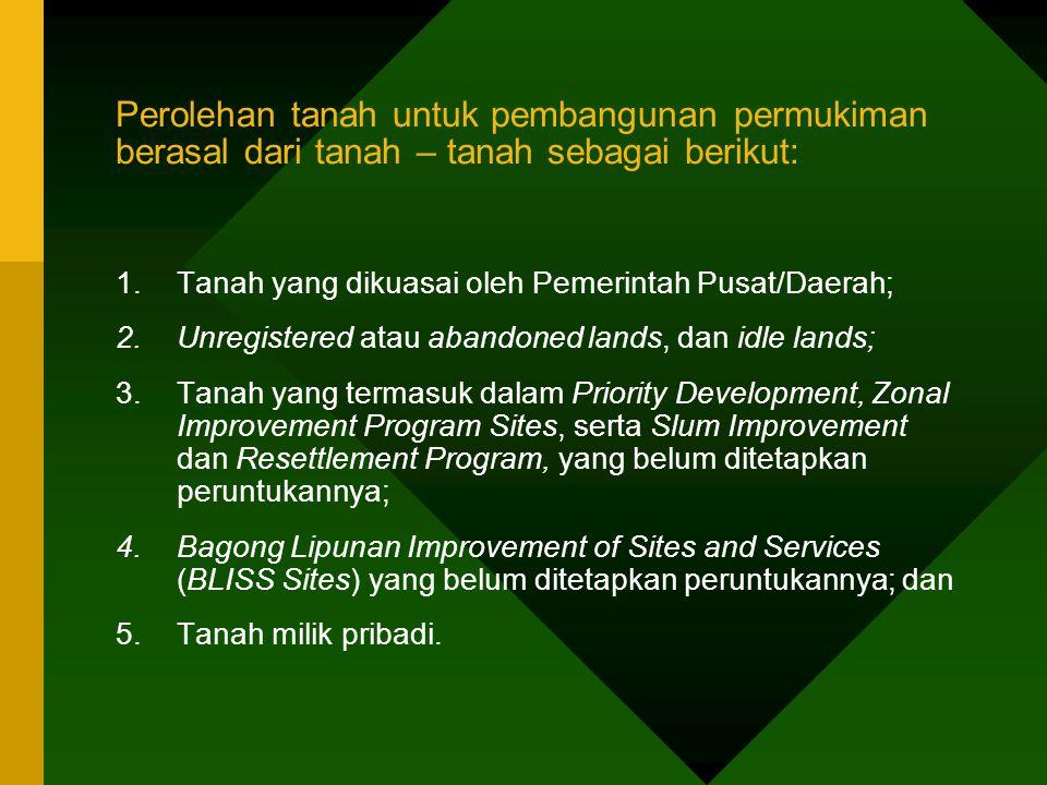 Perolehan tanah untuk pembangunan permukiman berasal dari tanah – tanah sebagai berikut: