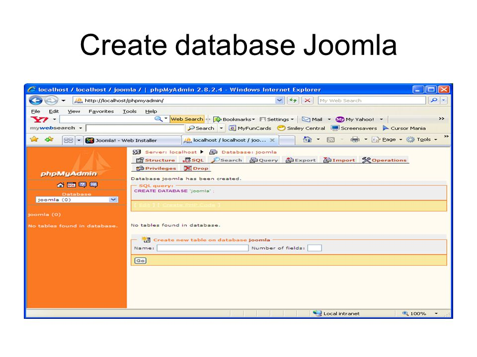 Create database Joomla