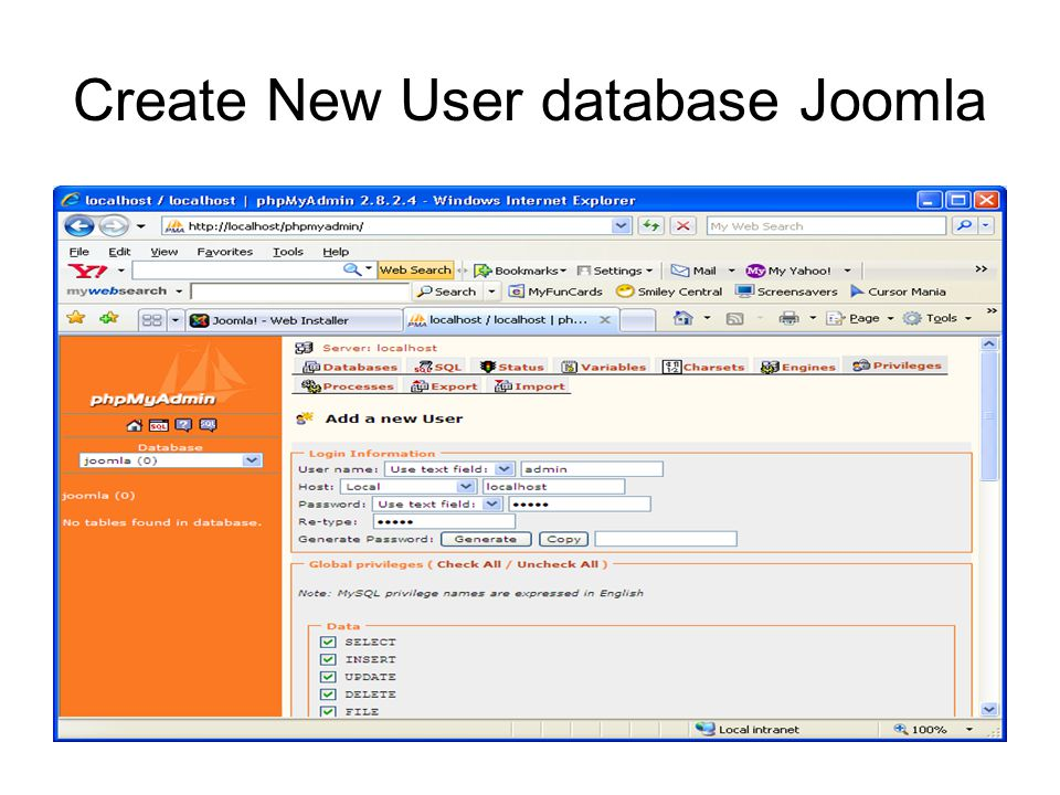 Create New User database Joomla