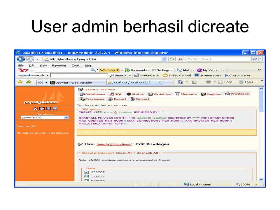 User admin berhasil dicreate