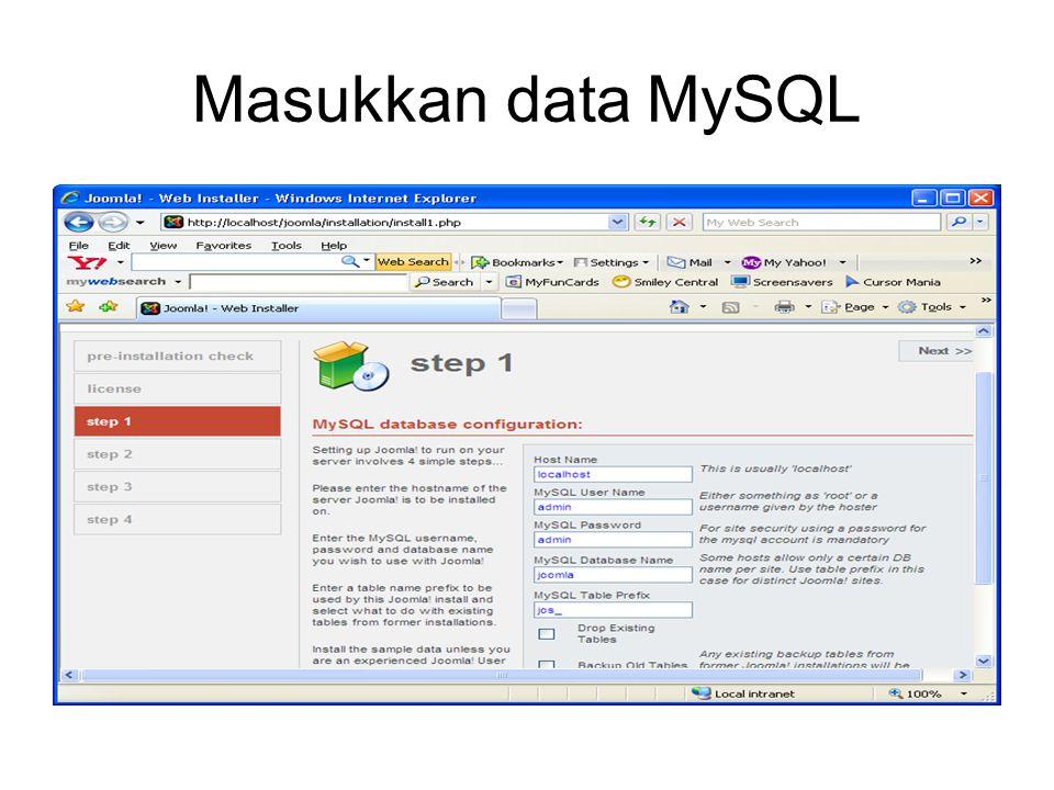 Masukkan data MySQL
