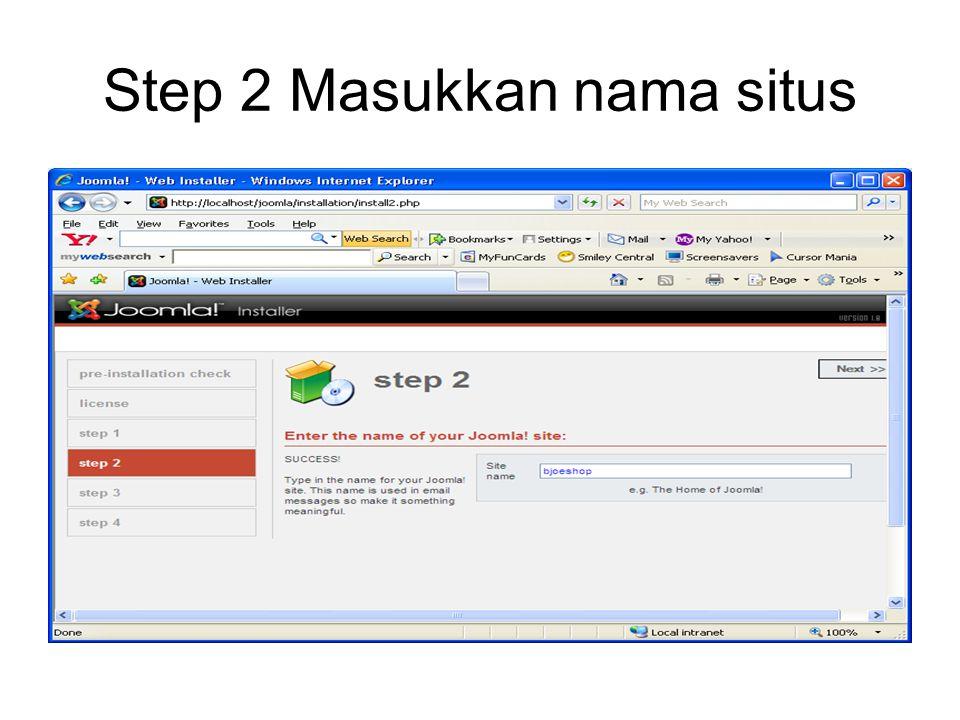 Step 2 Masukkan nama situs