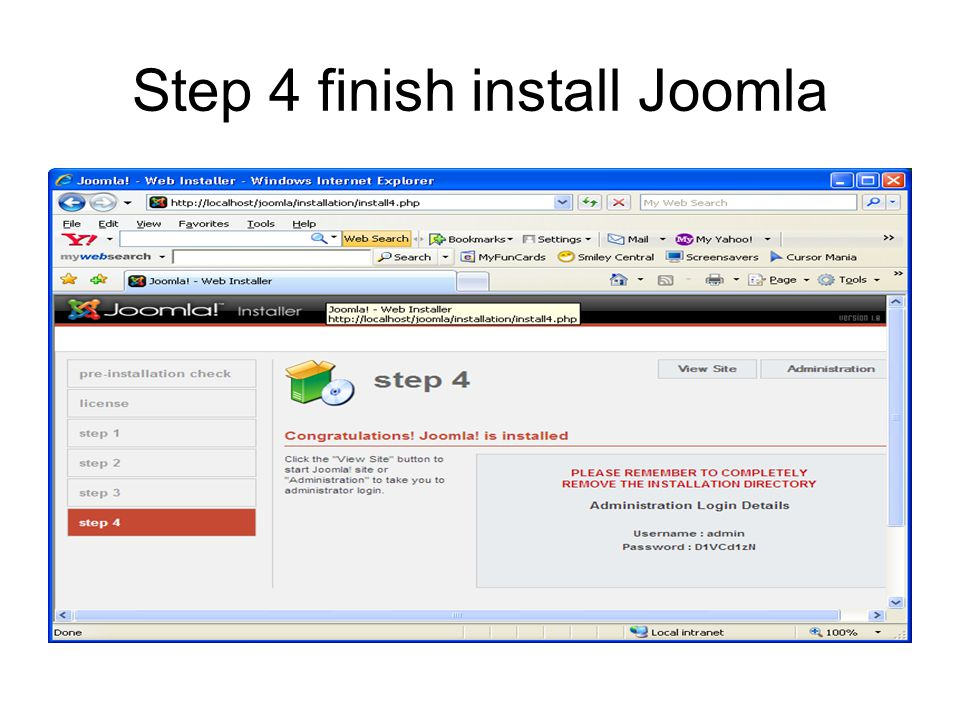 Step 4 finish install Joomla