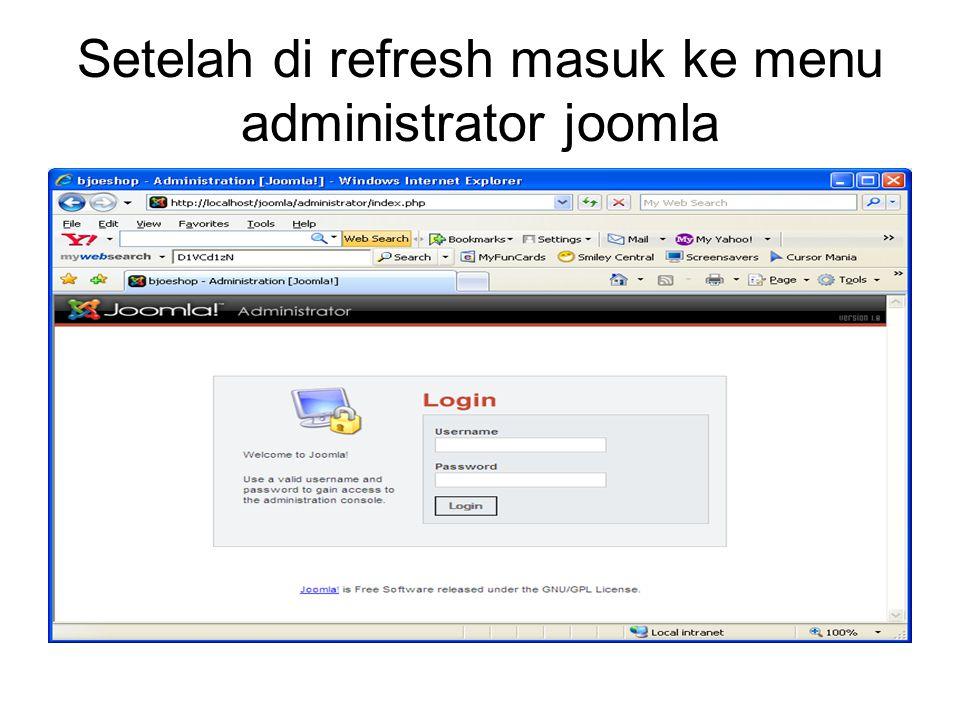 Setelah di refresh masuk ke menu administrator joomla