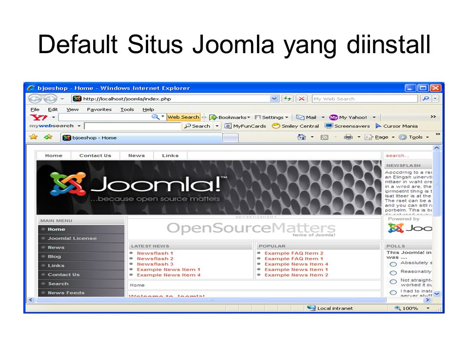 Default Situs Joomla yang diinstall