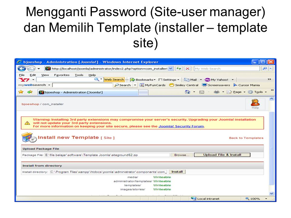 Mengganti Password (Site-user manager) dan Memilih Template (installer – template site)